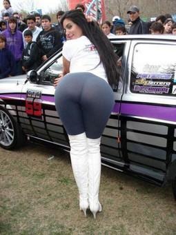 Amazing sexy bimbo brunette has awesome big ass