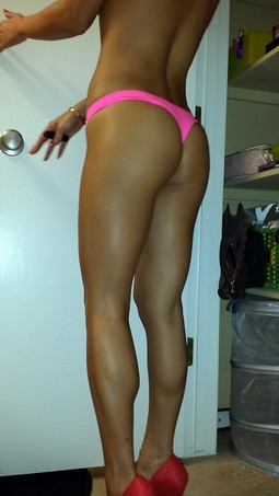 Beautiful long legs and perfect milg tight ass in pink thong