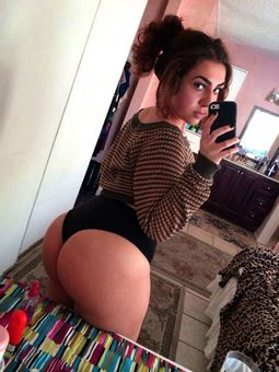 Naughty college teen taking self-shot shows her big ass.