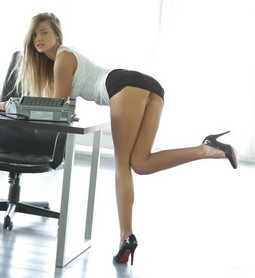 Office slut giving you a raise.