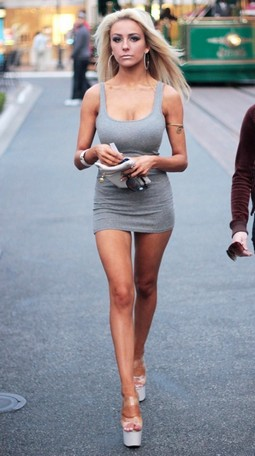 Courtney Stodden cleavage and stripper heels.