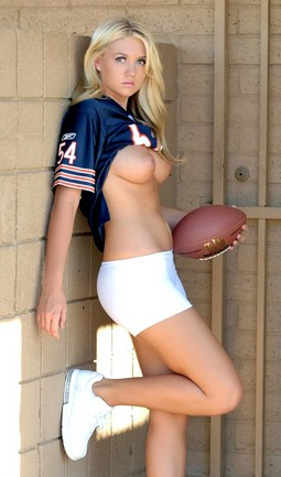 Alison Angel football outfit.