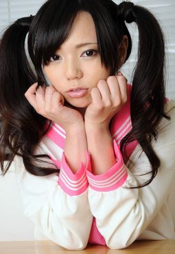 Little Chinese schoolgirl Yuria in pink tights and white panties